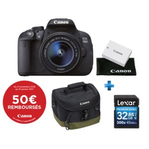 canon pack eos 700d objectif 18 55 mm is stm batterie suppl mentaire carte sd 32 go. Black Bedroom Furniture Sets. Home Design Ideas