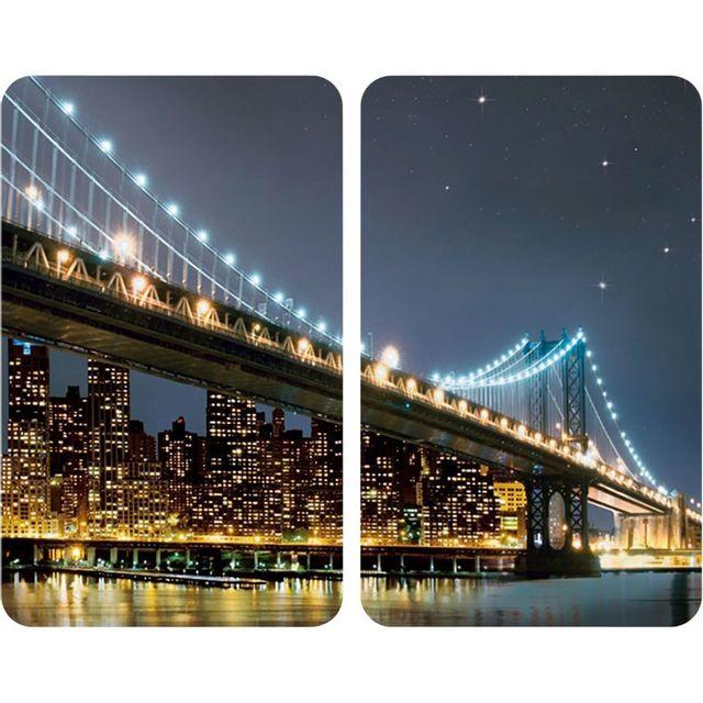 Wenko Set de 2 Protège-Plaques Universelles Brooklyn Bridge