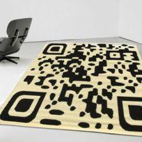DEZENCO - Tapis de Salon Moderne Design BC QR CODE - Fabriqué en Europe