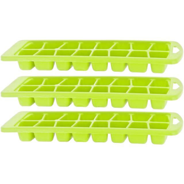 Promobo Lot 3 Bacs à 16 Glaçons Plastique So Fresh Vert