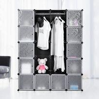 Rocambolesk - Superbe Armoire/Etagère de rangement en plastique Noire Imprimée 4 x 5 Cubes Grande capacité:145 x 37 x 180 cm L x l x h, Lpc30H neuf