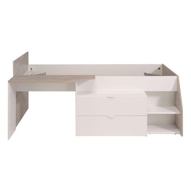 Tousmesmeubles Lit à tiroirs Blanc/Bois - Way