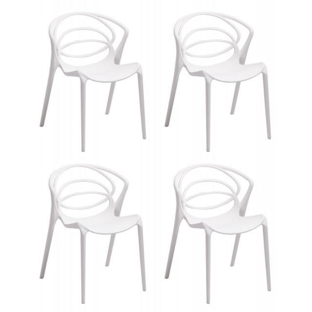 confort designers Meubletmoi Lot 4 blanches chaises de oWQEdeBrCx