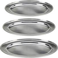 Touslescadeaux - 3 Plateaux ovales en acier inoxydable - plateau de service - plat de service