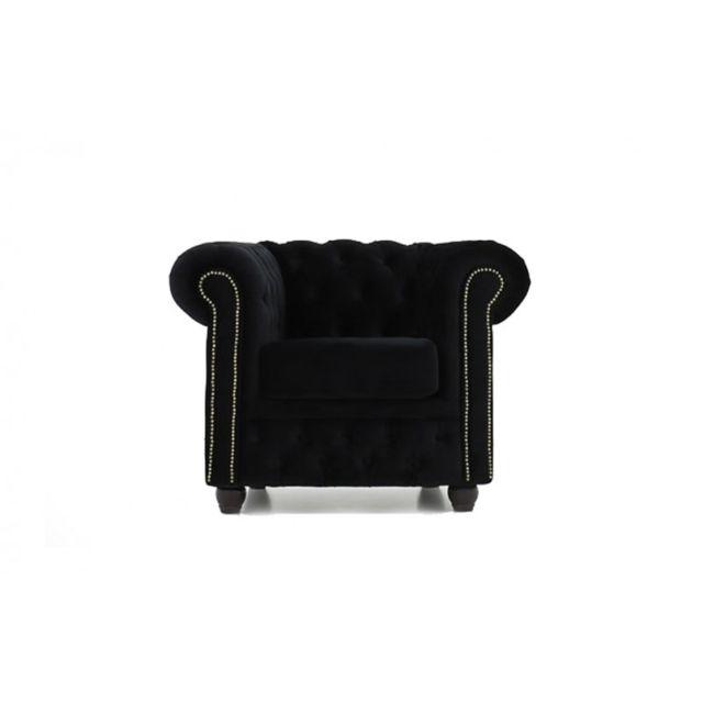 Chesterfield Fauteuil en tissu velours Noir