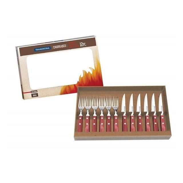 Tramontina Coffret 6 couteaux à steak + 6 fourchettes rouges