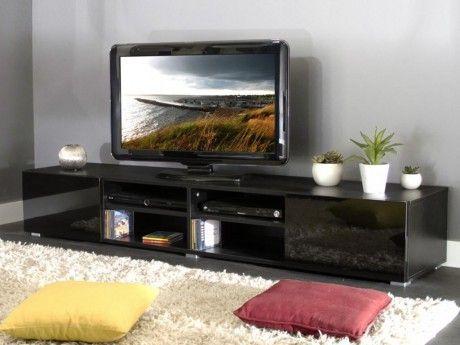 marque generique meuble tv hilaire 4 niches 2 tiroirs coloris noir - Meuble Tv