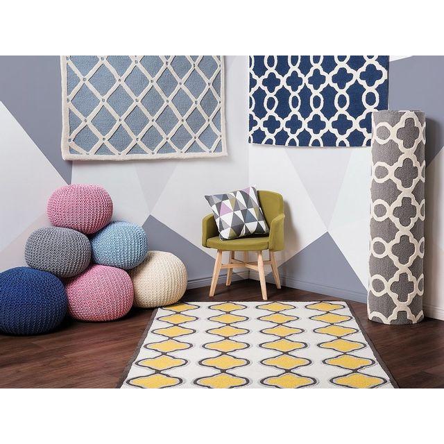 beliani tapis coton tapis jaune tapis 160x230 cm tire pas cher achat vente tapis. Black Bedroom Furniture Sets. Home Design Ideas