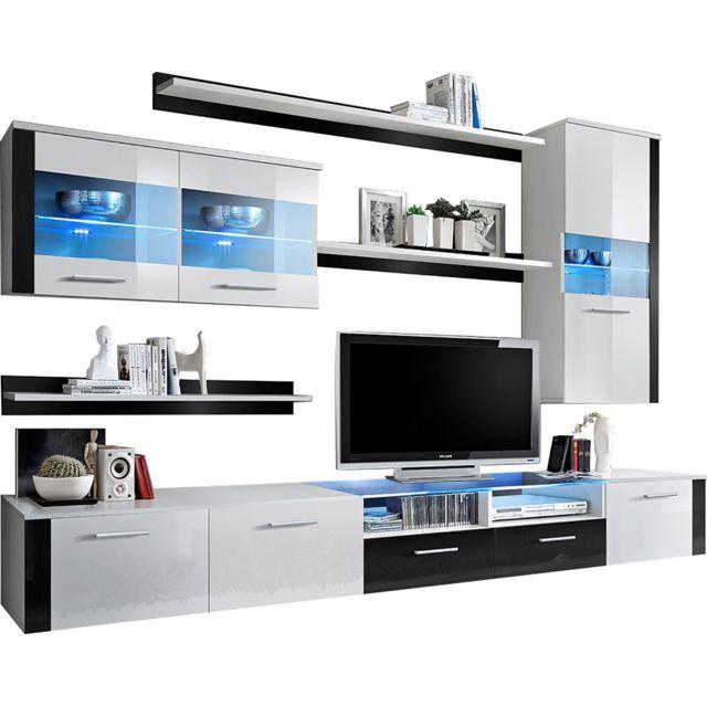 Ensemble Design Meuble Tv 3 étagères 2 Colonnes Vitrées Blanc Noir Avec éclairage Led C Taiyou