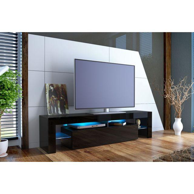 Mpc Meuble tv design laqué noir sans led