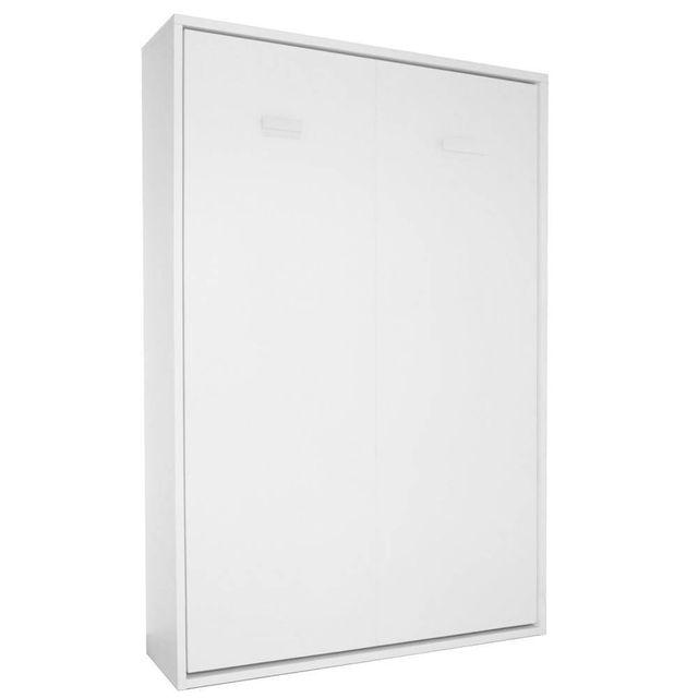inside 75 armoire lit escamotable smart blanc mat couchage 160 200cm montage domicile inclus. Black Bedroom Furniture Sets. Home Design Ideas