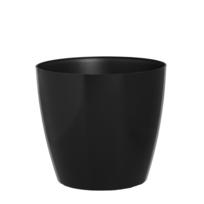 Artevasi - Pot de fleurs ou cache-pot rond avec 4 roulettes en résine plastique injectée noir