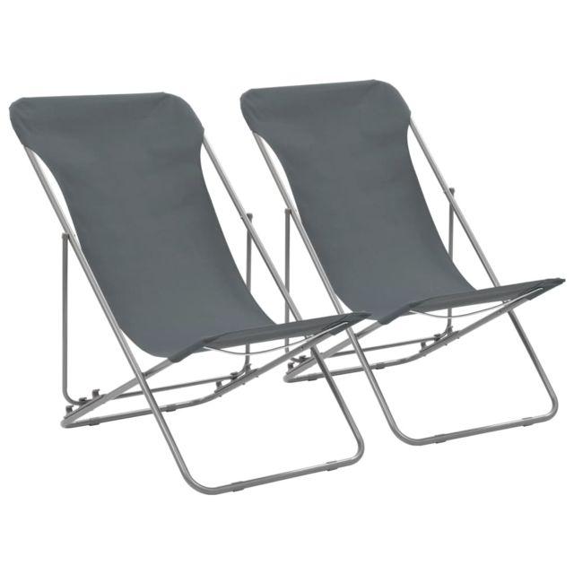 Vidaxl Chaise de plage pliable 2 pcs Gris Acier et tissu