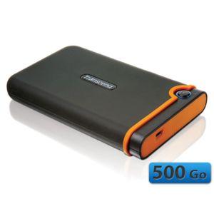 TRANSCEND - StoreJet 25 mobile 500 Go Anti-choc Noir