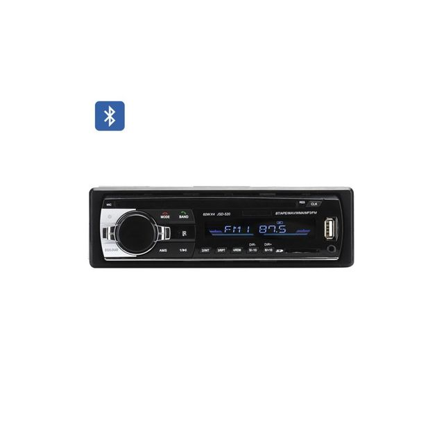 Auto-hightech Autoradio 1DIN Bluetooth 4x 60W entrŽe auxiliaire port Usb carte sd Wav, Wma, tuner Fm