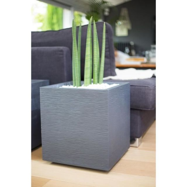 JARDINIERE - BAC A FLEUR EDA Pot carré Graphit - 39 x 39 x 43 cm - 35 L - Gris anthracite