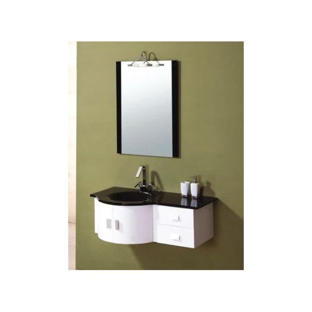 Items France - Meteor - Meuble salle de bain noir et blanc 100x56x37 ...