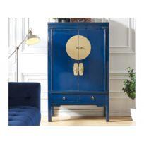 MARQUE GENERIQUE - Armoire NANTONG - 2 portes & 2 tiroirs - L.105 cm - Bois d'orme - Bleu nuit