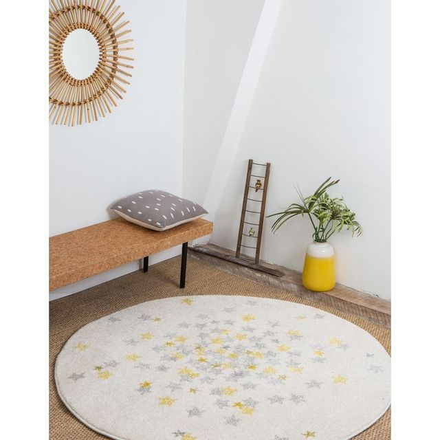 Tapis Nova rond étoiles grise et jaune chambre bebe par - Couleur - Gris,  Taille - 120 / 120 cm