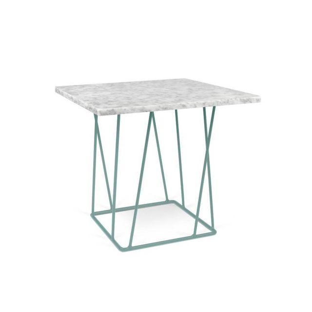 Inside 75 Tema Home Table basse Helix 50 en marbre blanc structure laquée verte