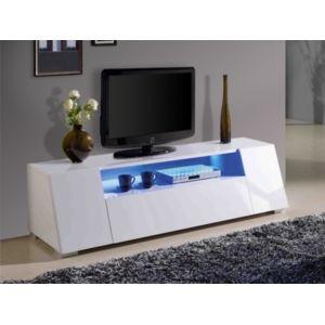 vente unique meuble tv cosmic mdf laqu blanc leds 2 portes - Meuble Tv Blanc Vente Unique