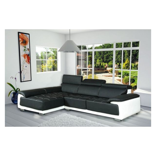 MEUBLESLINE Canapé d'angle design simili cuir CALIFORNIA noir et blanc