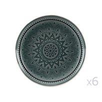 Decoris - Assiette creuse/coupelle en pierre motif rosace D.17cm - Lot de 6 Gayel - Vert Foncé