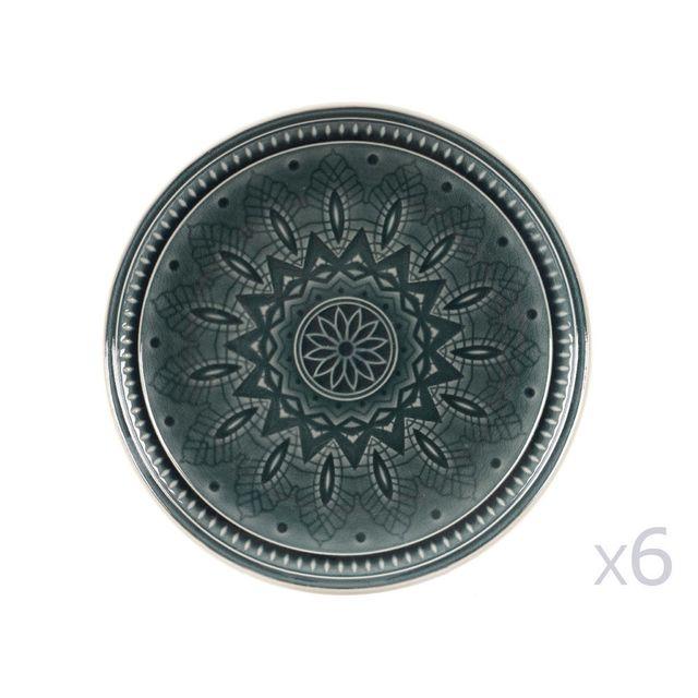 Decoris Assiette creuse/coupelle en pierre motif rosace D.17cm - Lot de 6 Gayel - Vert Foncé