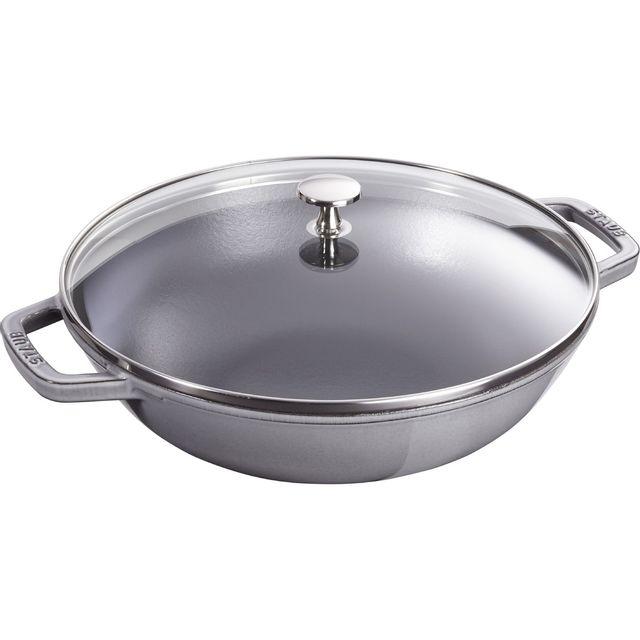 STAUB wok en fonte émaillée + couvercle verre 30cm gris graphite - 1312918
