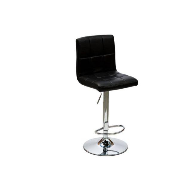 Inside 75 Chaise de bar Jazz design en tissu enduit polyuréthane simili façon cuir noir