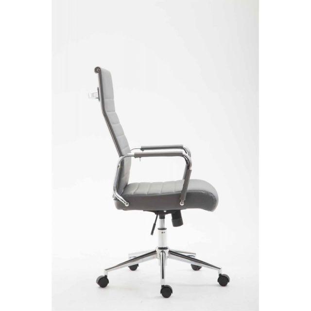 Fauteuil de bureau en similicuir gris avec assise rembourrée pivotant Bur10243