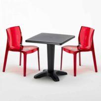 Table et 2 chaises colorées polycarbonat