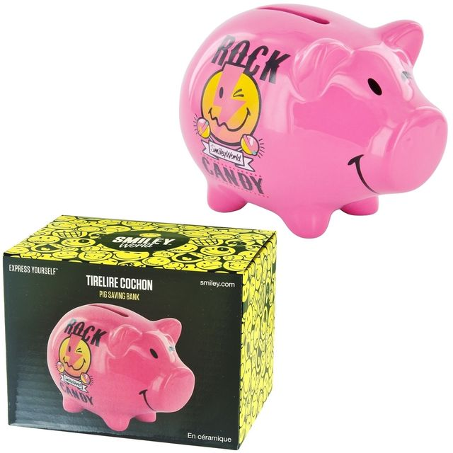 Promobo - Tirelire Cochon Licence Smiley World Rock Candy Collection Luxe Rose