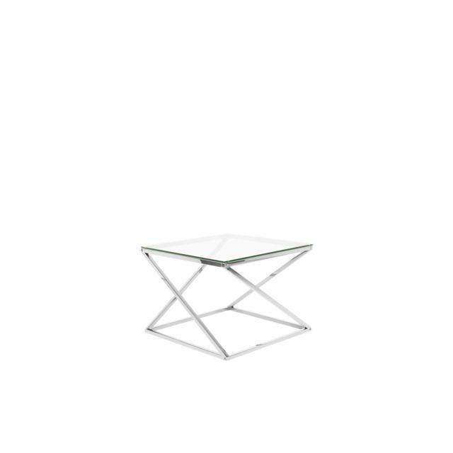 BELIANI Table appoint argentée avec plateau en verre BEVERLY - transparent