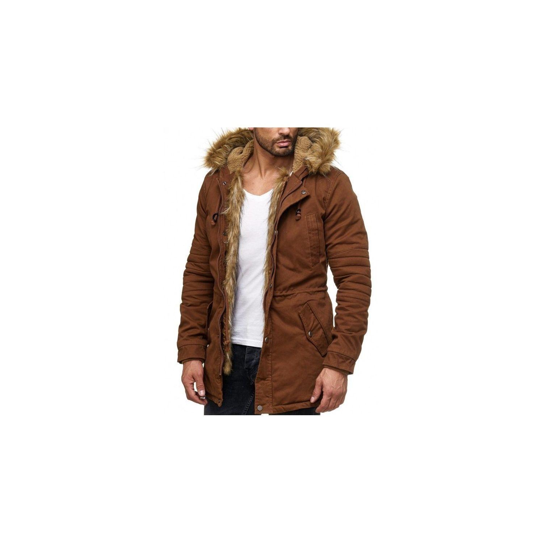 BESTSTYLE- Manteau à fourrure homme marron cintré à la mode b0f0be48567c