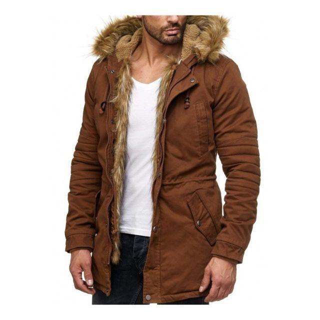 f237ab91894c2 Beststyle - Manteau à fourrure homme marron cintré à la mode - pas ...