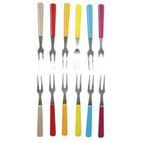 Gimel - Lot de 12 fourchettes avec pochette rouge. orange. vert et bleu