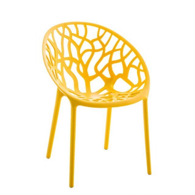 decoshop26 chaise dintrieur ou dextrieur en plastique jaune empilable mdj10124 - Chaise Exterieur