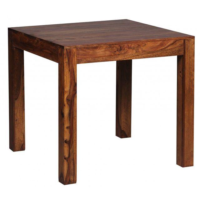 COMFORIUM Table à manger carrée 80 x 80 cm en bois massif coloris sheesham