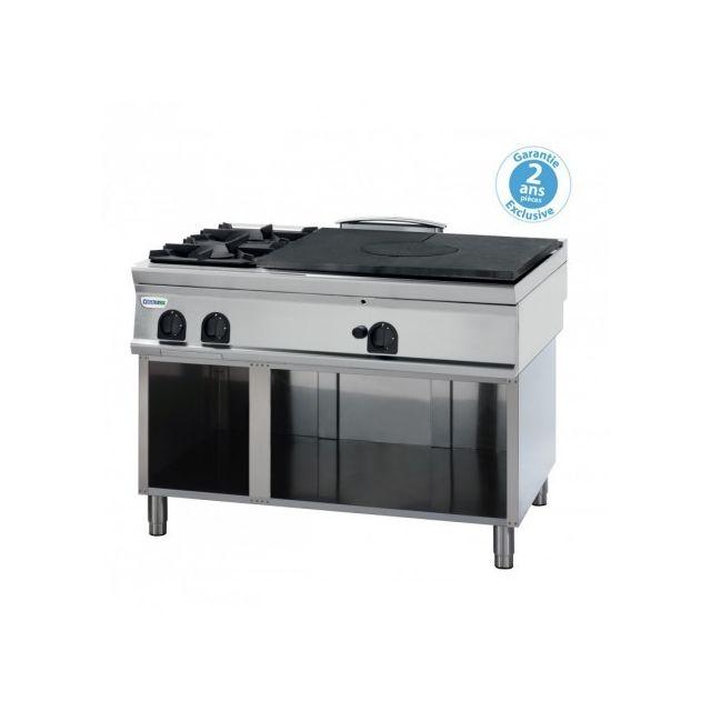 Materiel Chr Pro Plaque de cuisson - top 2 feux vifs gaz et plaque coup de feu à poser - gamme 900 - Tecnoinox - 900