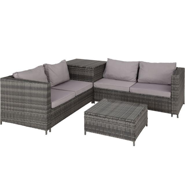 TECTAKE Salon de jardin SIENNE 4 Places avec 2 Canapés modulables + 1 Table basse en Résine tressée + Coffre Gris