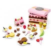 Legler - Caisse de friandises en bois - Jeu de dinette - marchande - 39 pièces colorées