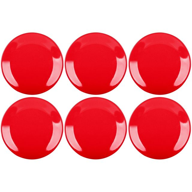 Promobo Set Ensemble Lot 6 Assiettes De Table Céramique Déco Platine Rouge