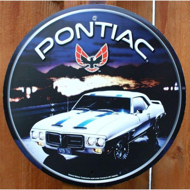 Universel Plaque pontiac firebird ronde voiture blanche bande bleu