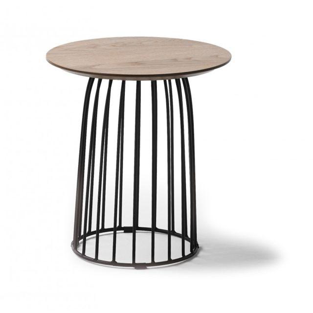 Table Basse Ronde 40cm En Bois De Chene Et Pieds Metal Noir Emeline L 40 X L 40 X H 45