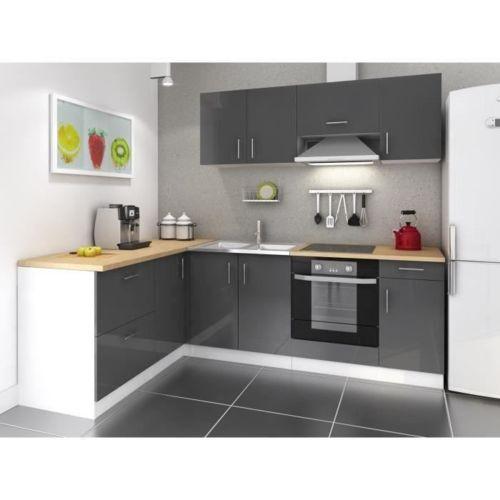 Usines discount cuisine complete 280 cm laqu gris cosy - Magasin de cuisine equipee pas cher ...