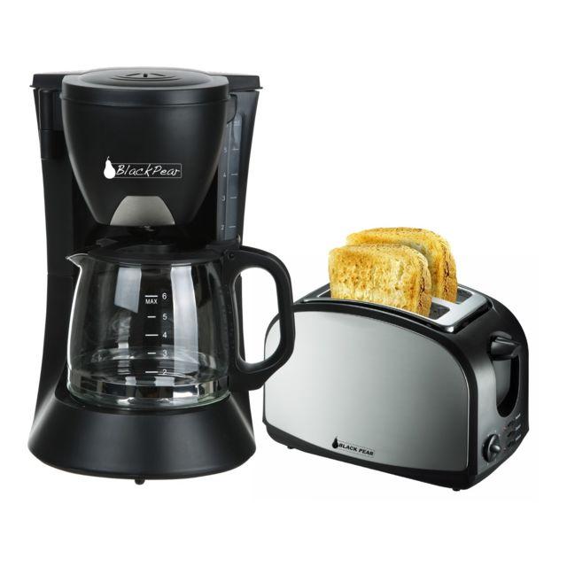 Blackpear Cafetière 6 tasses 650W Black Pear Bcm106 + Grille pain 2 fentes Black Pear Bgp400