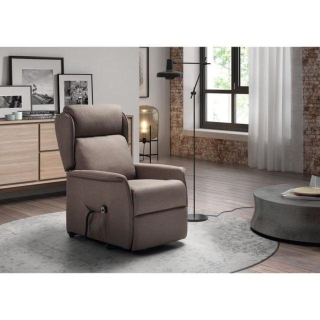 FAUTEUIL DALLAS Fauteuil de relaxation 1 Moteur + Releveur - Toile Gris - L 67 x P 82 x H 103 cm