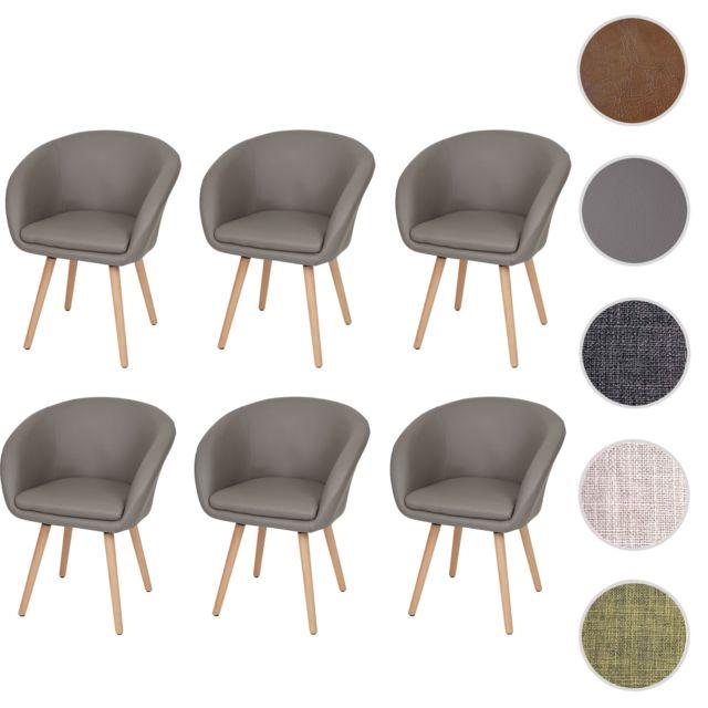 Mendler 6x chaise de salle à manger Malmö T633, fauteuil, design rétro des années 50 ~ similicuir, taupe