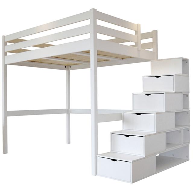 abc meubles lit mezzanine sylvia avec escalier cube pin massif pas cher achat vente. Black Bedroom Furniture Sets. Home Design Ideas